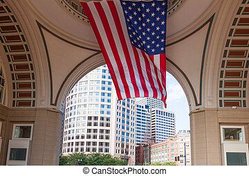 USA flag in The financial district of Boston - USA