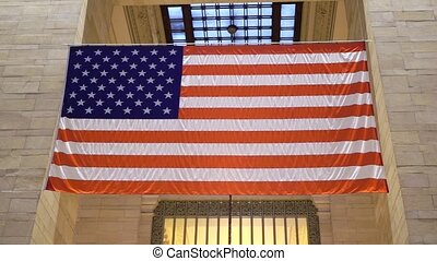 USA flag indoors at Grand Central railway station