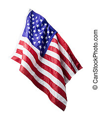 USA flag isolated on white background with clipping path