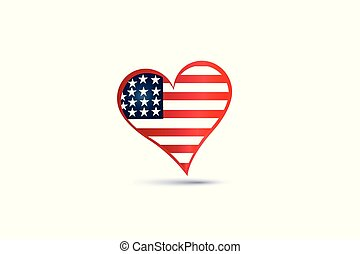 USA flag love heart logo