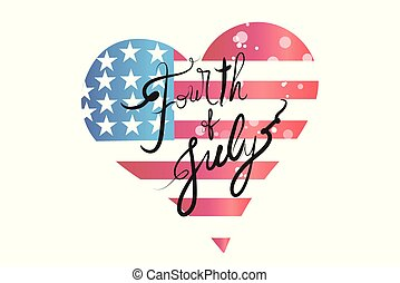USA flag love heart shape logo