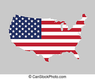 USA flag map - Flag map of the United states of America