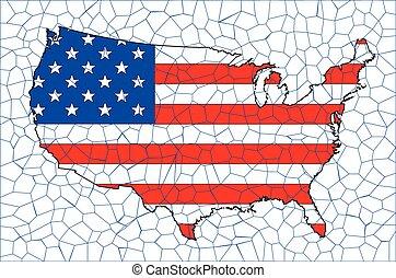 USA Flag Map Mosaic
