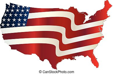 USA Flag map wavy graphic design