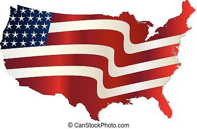 USA Flag map wavy graphic design