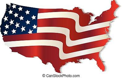 USA Flag map wavy logo vector design