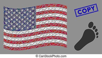USA Flag Mosaic of Human Footprint and Scratched Copy Stamp