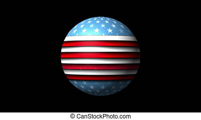 USA flag on 3d sphere globe abstract video animation