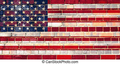 USA flag on a brick wall