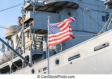 USA flag on a military ship