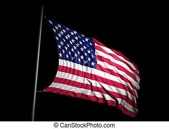 USA flag on black background