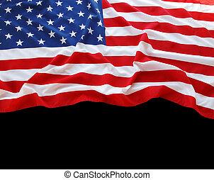 USA flag on black