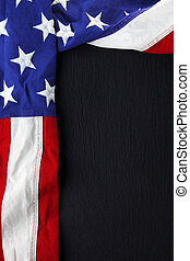 USA flag on black slate background