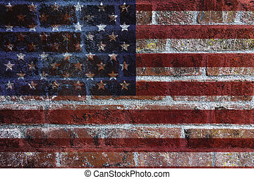 USA Flag on Brick Wall Background