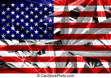 USA Flag on cannabis background. Drug policy. Legalization...