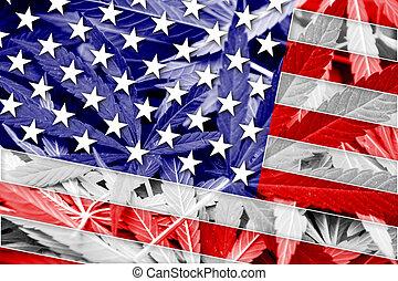 USA Flag on cannabis background. Drug policy. Legalization...