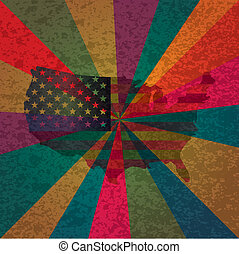 USA Flag  on Colorful Rays Textured Background