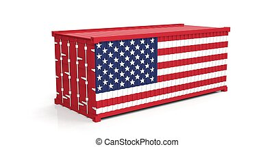 USA flag on container. 3d illustration - USA flag on...