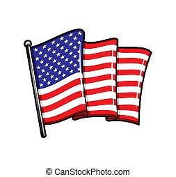 USA flag on flagpole isolated vector icon