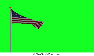 USA flag on green screen