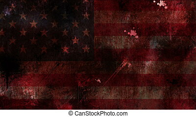USA flag on grunge bloody background