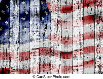 USA flag on grunge wooden background