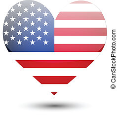 USA flag on heart shape