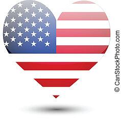USA flag on heart shape