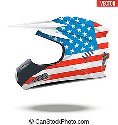 USA Flag on Motorcycle Helmets