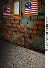 USA flag on old brick wall background