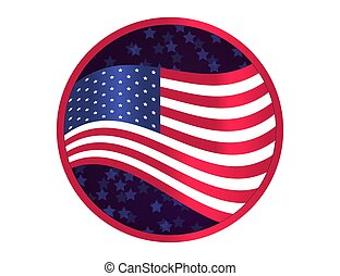 USA flag on sparkling background with stars.