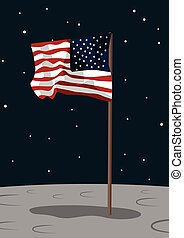USA flag on the moon surface
