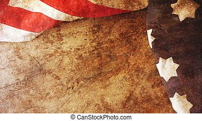 Usa Flag on Wood Background.