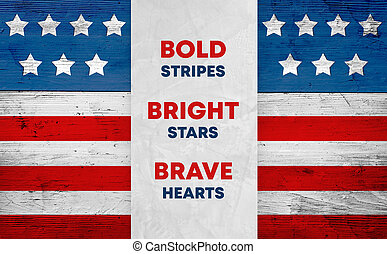 USA flag on wood, patriotic slogan