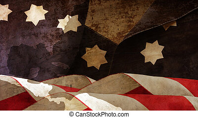 Usa Flag On Wood.