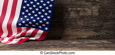 USA flag on wooden background. 3d illustration