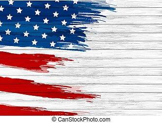 USA flag paint on white wood background vector illustration