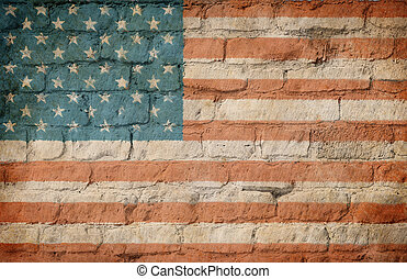 USA flag painted on brick wall - USA flag painted on old...