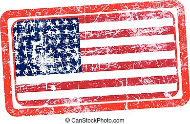 usa flag red grunge rubber stamp vector illustration