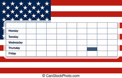 USA flag school timetable