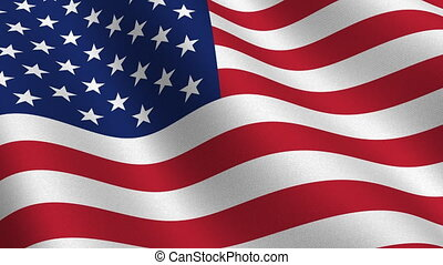 USA flag seamless loop - USA flag waving in the wind -...