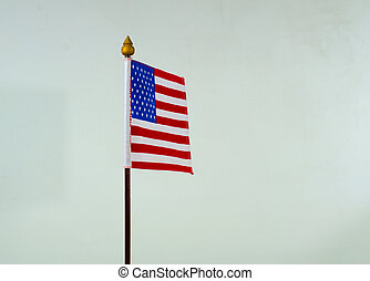 USA flag small  Isolated on white background.
