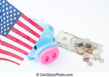 USA flag, stack of coins and dollors, Travel America concept