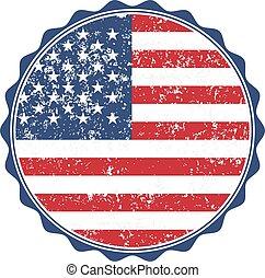 USA flag stamp with grunge. Vector illustration