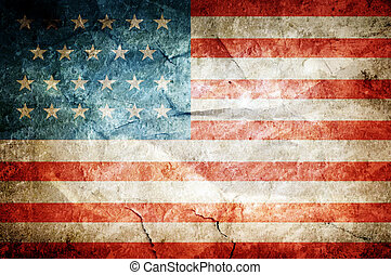 USA flag painted on old dirty paper