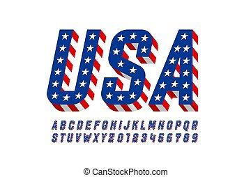 USA flag style font