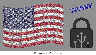 USA Flag Stylization of Circuit Lock and Grunge Life Guard Stamp