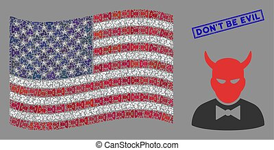 USA Flag Stylization of Devil and Scratched Don'T Be Evil Stamp