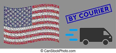 USA Flag Stylization of Fast Delivery Car and Textured By Courier Seal