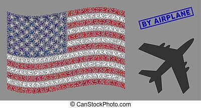 USA Flag Stylization of Jet Plane and Textured By Airplane Seal
